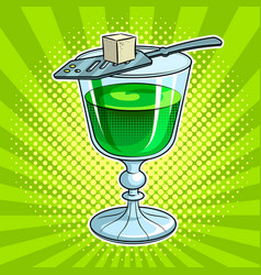 Absinthe green alcohol drink pop art vector