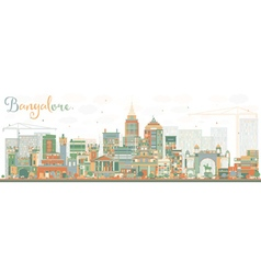 Abstract Bangalore Skyline with Color Buildings vector image