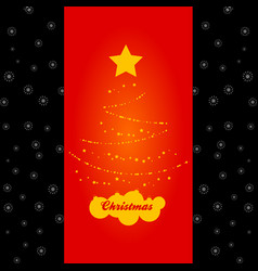 Abstract christmas tree red panel on black vector