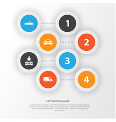 Automobile icons set collection truck plug vector