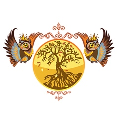 Autumn owls with tree vector
