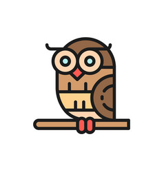Bird owl flat color icon isolated on white vector
