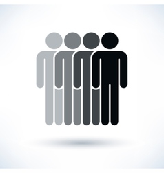 Black four people man figure with drop shadow vector