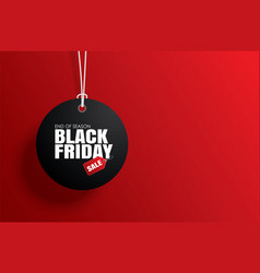 black friday sale tag circle banner and rope vector image