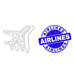 Blue grunge airlines seal and web carcass aviation vector