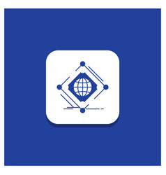 Blue round button for complex global internet net vector