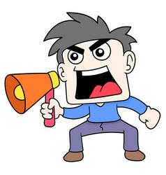 Boy carrying a megaphone shouting an announcement vector