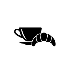 breakfast hot coffee and croissant flat icon vector image
