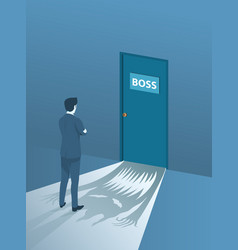businessman brave standing front of the boss room vector image