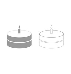 Cake with candle the grey set icon vector