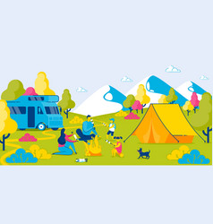 camping in forest roasting marshmallow on fire vector image