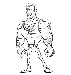Cartoon image tough man vector