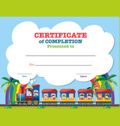 certification template with children on the train vector image