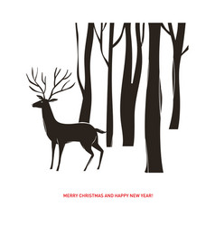 Christmas card deer in the forest vector
