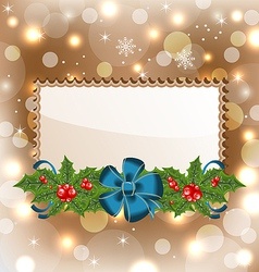 Christmas elegant card with mistletoe and bow vector image