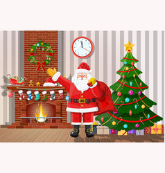 christmas interior of room vector image