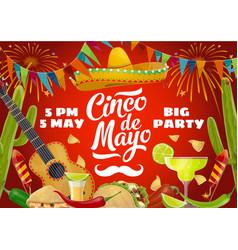 cinco de mayo sombrero guitar mexican party food vector image