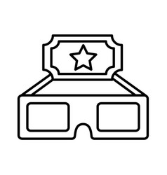 cinema glasses and ticket isolated icon vector image