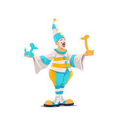 circus clown in costume with balloon animals vector image
