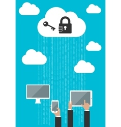 Cloud computing security flat concept vector image