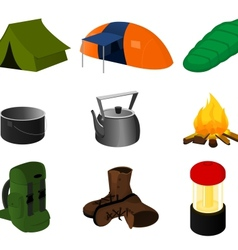 Collection of camping icons vector