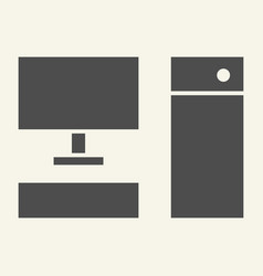 computer solid icon pc vector image