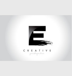 e letter design with brush stroke and modern 3d vector image