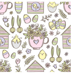 easter mug with flowers seamless pattern vector image