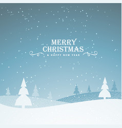 elegant snowy merry christmas greeting background vector image