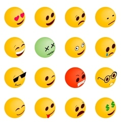 Emoticon icons set isometric 3d style vector image vector image