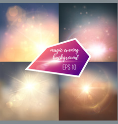 Evening magic sun backgrounds set vector