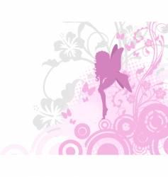 Fairy in pink garden vector