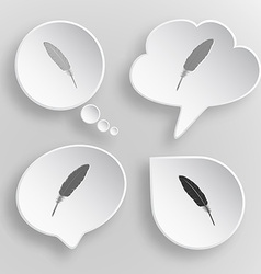 Feather White flat buttons on gray background vector