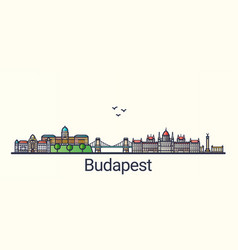 flat line budapest banner vector image