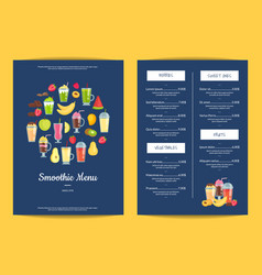 flat smoothie elements cafe or restaurant vector image