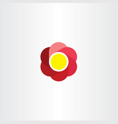 flower logo red circle abstract business icon vector image