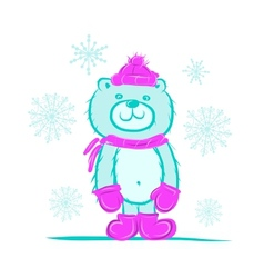 Funny santa bear for your design vector