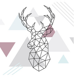geometric reindeer low poly line art wild deer vector image