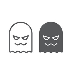 ghost line and glyph icon horror and character vector image