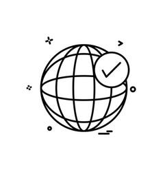 Globe tick icon design vector