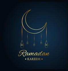 Golden islamic moon and hanging lamps ramadan vector