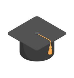 graduate school black cap icon isometric style vector image