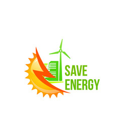 Green solar green energy windmill icon vector