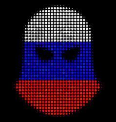 Halftone russian terrorist balaklava icon vector
