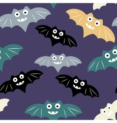 Halloween seamless pattern with colorful bat vector