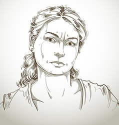 Hand-drawn portrait of white-skin doubtful woman vector