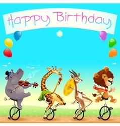 Happy birthday card with funny wild animals vector