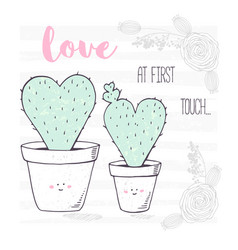 Happy heart shaped family of cactuses with a baby vector