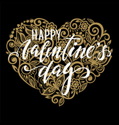 happy valentines day hand drawn calligraphy vector image
