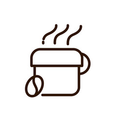 hot coffee cup and bean line design vector image